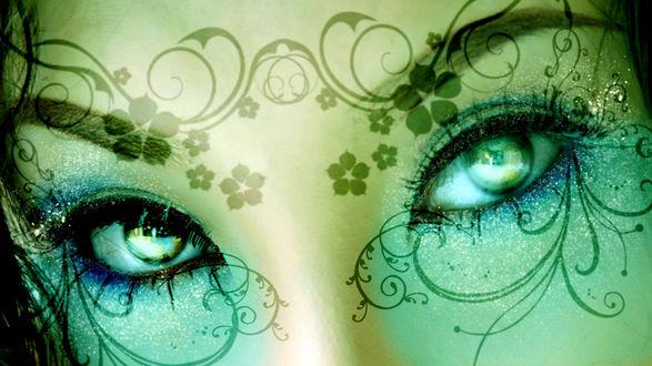 Обои Зелено-голубой взгляд девушки