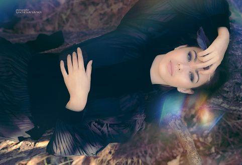 Обои Девушка в темном платье с пером в руке лежит на стволе дерева и смотрит вверх, фотограф Вячеслав Савский, модель Даша Никейцева