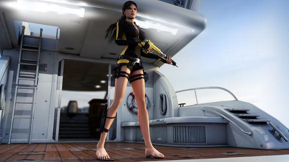 Обои Tomb Raider великолепная Лара Крофт с оружием в руках на катере готова продолжить свое опасное путешествие