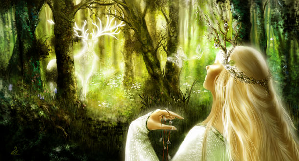 Обои Девушка смотрит на духа леса в виде оленя, by Miss-Obsidienne