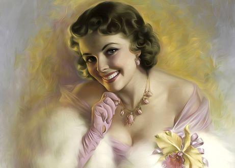 Обои Милая нежная девушка с очаровательной улыбкой, художница Zoe Mozert