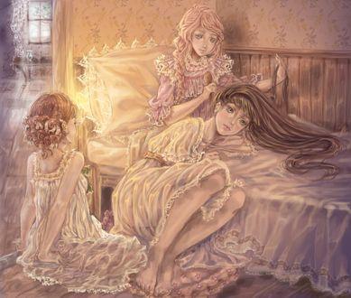 Обои Три девушки готовятся ко сну