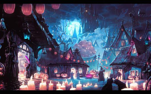 Обои Ночная улица города на кануне Хэллоуина