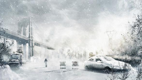 Обои Апокалипсис. Холодный заснеженный город