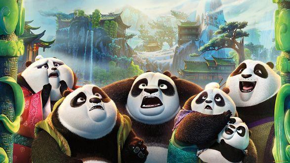 Обои Прикольные панды с мультфильма Кунфу панда 3