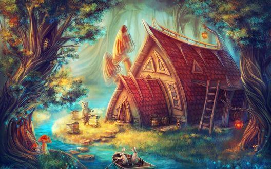 Обои Сказочный домик у реки, два зайца в лодке и медведь