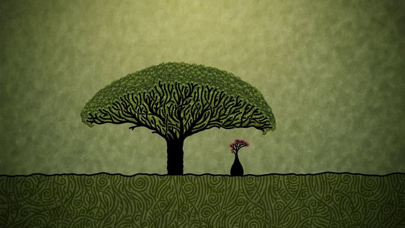 Обои Маленькое и большое дерево