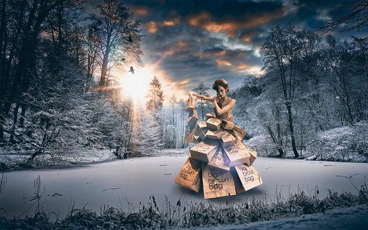 Обои Девушка в платье из бумажных пакетов стоит на снегу в лучах солнца