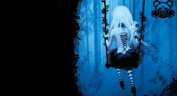 Обои Рисунок девушки на качелях с зеркалом в руках, в зеркале отражается ее грусть и слезы