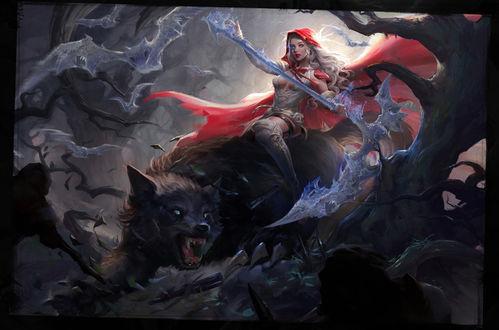 Обои Красная шапочка на волке