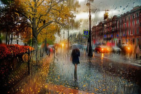 Обои Санкт-Петербург, девушка с зонтом в руках идет по дороге, фотограф Гордеев Эдуард