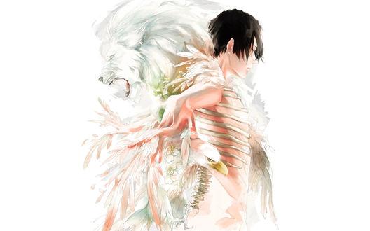 Обои Парень, лев и орел