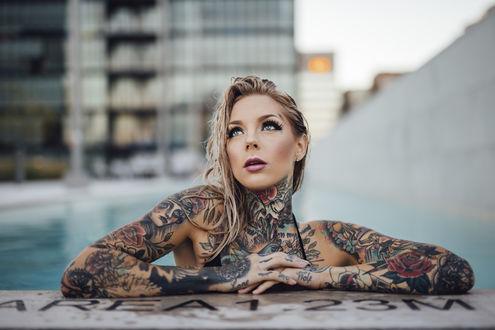 Обои Красивая девушка с татуировками