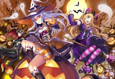 Обои Две девушки одетые как ведьмочки и парень одет как вампир на фоне неба и полной луны, вокруг них летают призраки, летучие мыши, на заднем фоне виден мрачный особняк, art by matsui hiroaki