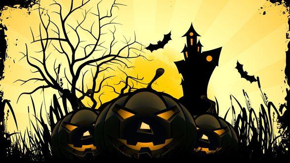 Обои Тыква-фонарь Джека на фоне черного замка и летучих мышей