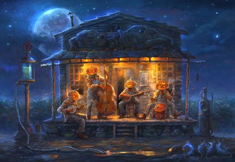 Обои Музыкальный квартет в полнолуние на Хэллоуин