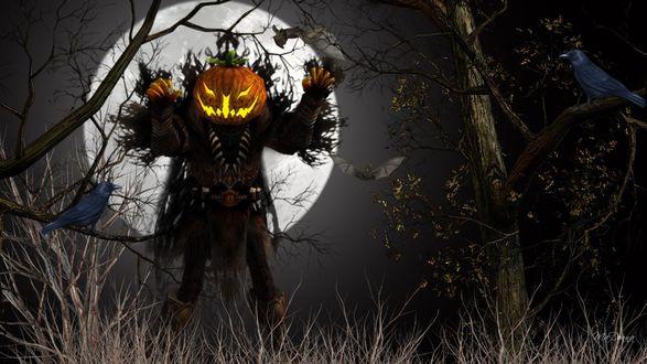 Обои Фонарь-призрак на фоне луны в лесу, среди ворон и летучей мыши, коллаж MaDonna