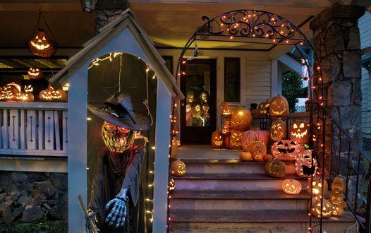 Обои Дом наряжен к празднику хэллоуина, всюду фонари Джека из тыквы