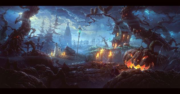 Обои Ночью в поле возле церкви и леса стоит тыква Джек около деревьев демонов и горящих свечей