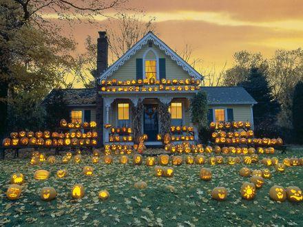 Обои Дом наряжен к празднику хэллоуина