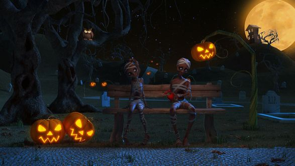 Обои Два влюбленных зомби на скамейке под тыквами-фонарями Джека