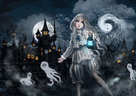 Обои Белокурая девушка с фонарем в руке в окружении призраков