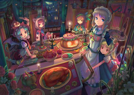 Обои Девочки из Тохо / Touhou project празднуют Хэллоуин / Halloween