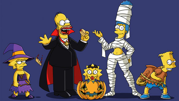 Обои The Simpsons / Симпсоны в костюмах на Хэллоуин / Halloween