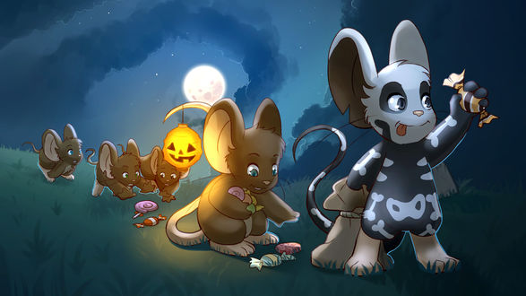 Обои Мышки идут по полю при полной луне, на праздник Хэллоуин, освещая дорогу светильником Джека и собирают конфеты