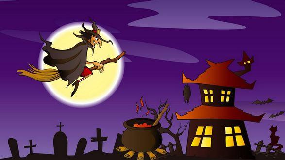 Обои В ночь полнолуния старая ведьма летит на метле над домами и кладбищенскими крестами к котлу, где готовится праздничное угощение