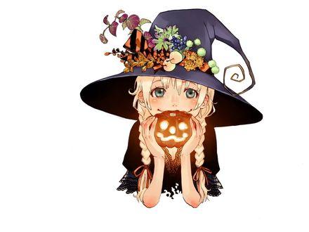 Обои Улыбающаяся ведьмочка в шляпе с косичками держит тыковку