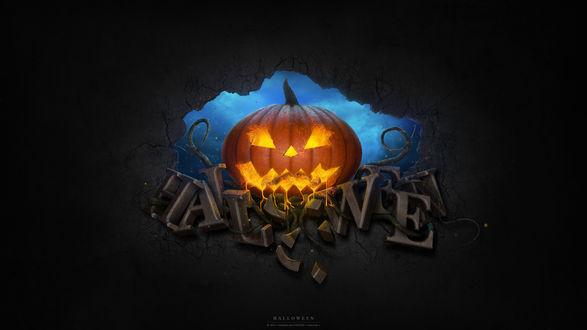 Обои Фонарь Джека стоит на буквах Halloween