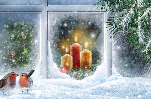 Обои Рисунок на тему нового года, за окном горят две свечи и виднеется нарядная елка, перед окном сидят два снегиря и еловая ветка