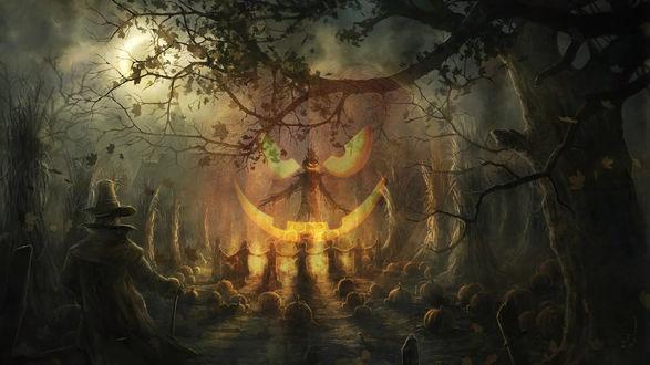 Обои Культ у костра на кануне Хэллоуина