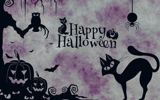 Обои На серо-сиреневом фоне черной краской нарисованы: кошка, паук, летучая мышь и сова на дереве, у подножия которого лежат светильники Джека (Happy Halloween / Счастливого Хэллоуина)
