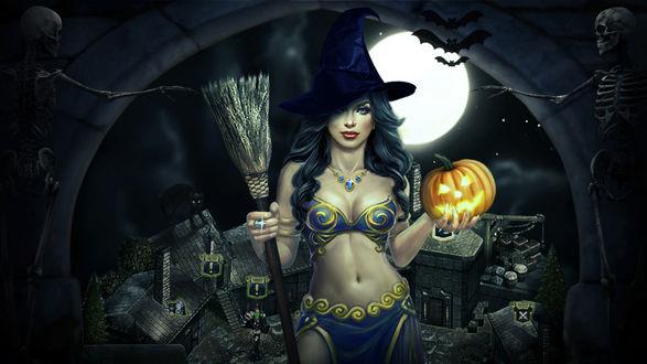 Обои Ведьма с метлой и светящейся тыквой в руках в окружении скелетов на фоне каменных строений полной луны и парящих летучих мышей
