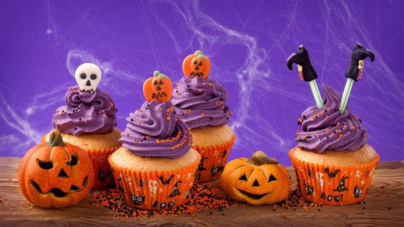 Обои Кексы с кремом, угощение на Хэллоуин