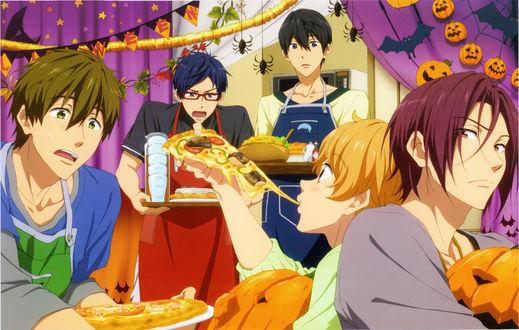 Обои Haruka, Makoto, Nagisa, Rei и Rin празднуют Halloween, аниме Free! / Свободный стиль, art by Futoshi Nishiya