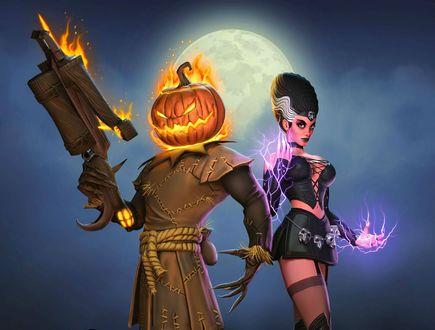 Обои Фантастическая картинка, пугало с горящей тыквой на голове держит оружие с рядом стоящей девушкой, на фоне полной луны и тумана