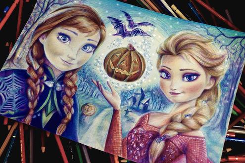 Обои Нарисованная картина с персонажами мультфильма Анной и Эльзой из мультфильма Холодное сердце к празднику Хеллоуин