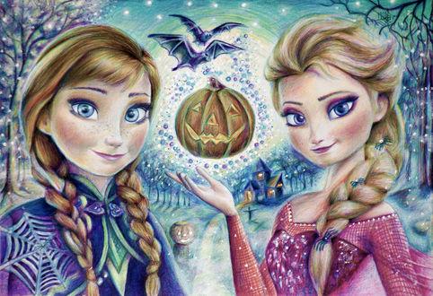 Обои Герои мультфильма Холодное сердце, Анна и Эльза изображены на картине к Хеллоуину. Зима, деревья, падающий снег, домик вдалеке, летающие мыши