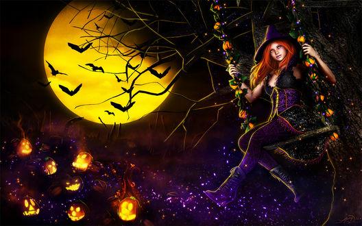 Обои Молодая ведьмочка, качается на качелях, на дереве. На земле стоят тыквы-свечи Хеллоуина, на фоне полной луны, видны летающие мыши