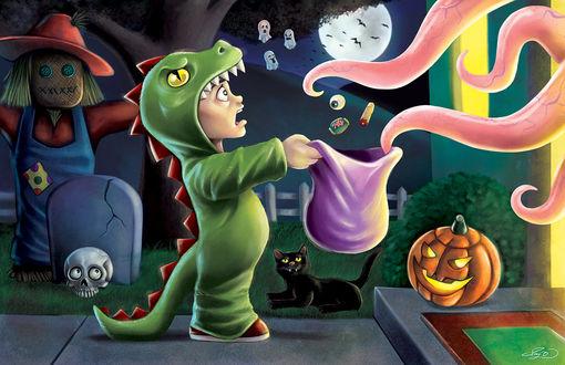 Обои Сказачный персонаж, на праздник Хеллоуина выпрашивает сладости, на пороге стоит тыква и лежит черный кот