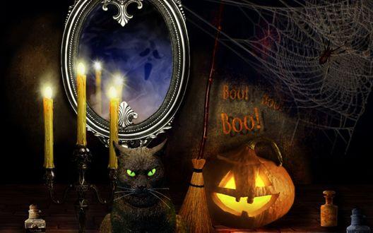 Обои Праздник Halloween, зеркало свечи и фонарь джека