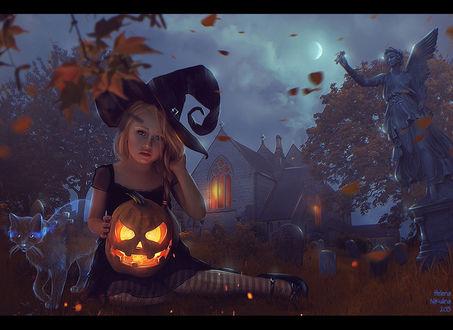 Обои Девочка-ведьма с тыквой на руках сидит в траве на кладбище, рядом стоит призрачный кот, by Nikulina-Helena