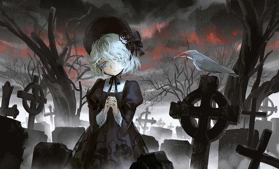 Обои Белокурая девушка на кладбище ночью