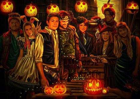 Обои Герои сериала Сверхъестественное нарядились в карнавальные костюмы, для празднования Хеллоуина