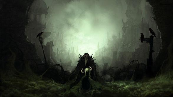 Обои Колдун вызывает темные силы, на фонарях сидят вороны, позади мрачные башни и дома укрытые туманом