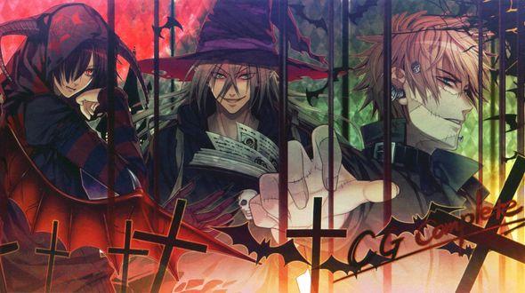 Обои Shin, Ukyo и Kent в костюмах для Halloween, аниме Amnesia, art by Mai Hanamura