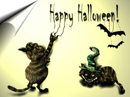 Обои Мрачные котики нацарапали Happy Halloween, на буквах висят летучие мыши